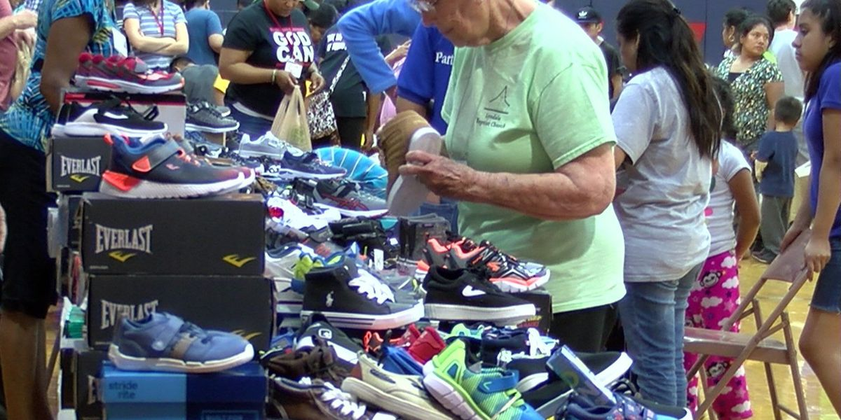 Church ministry giving away shoes for back to school