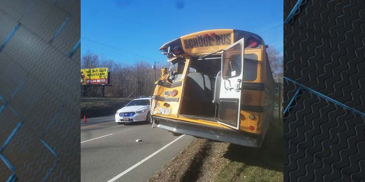 Truck rear-ends school bus, emergency crews on scene
