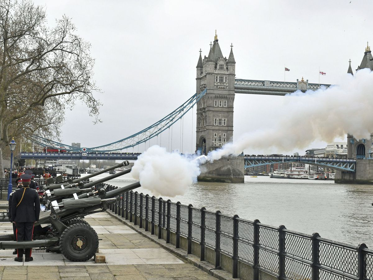 UK's Prince Philip honored with 41-gun salutes after death