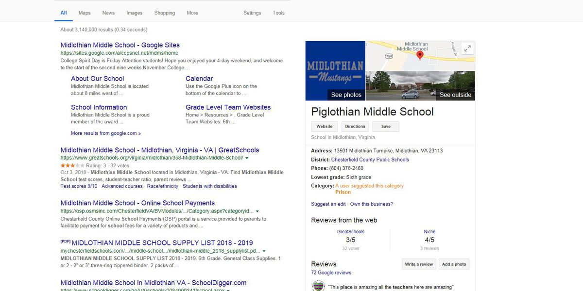 These Virginia school names got a strange makeover in Google searches
