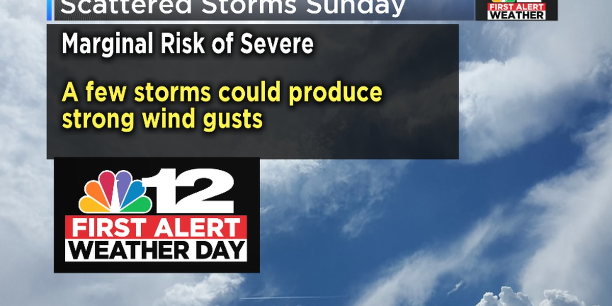 FIRST ALERT WEATHER DAY: Few strong storms possible Sunday afternoon and evening