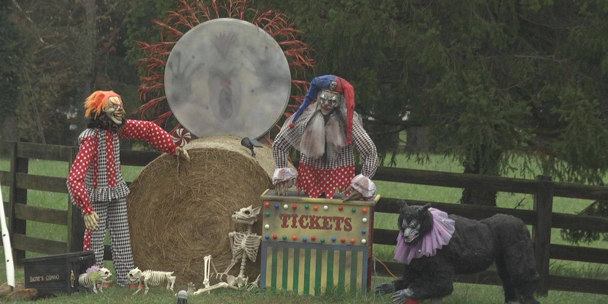 Family in Free Union creates creepy clown decorations for Halloween