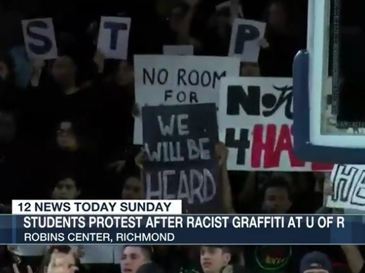 Students protest after reported racist graffiti at the University of Richmond