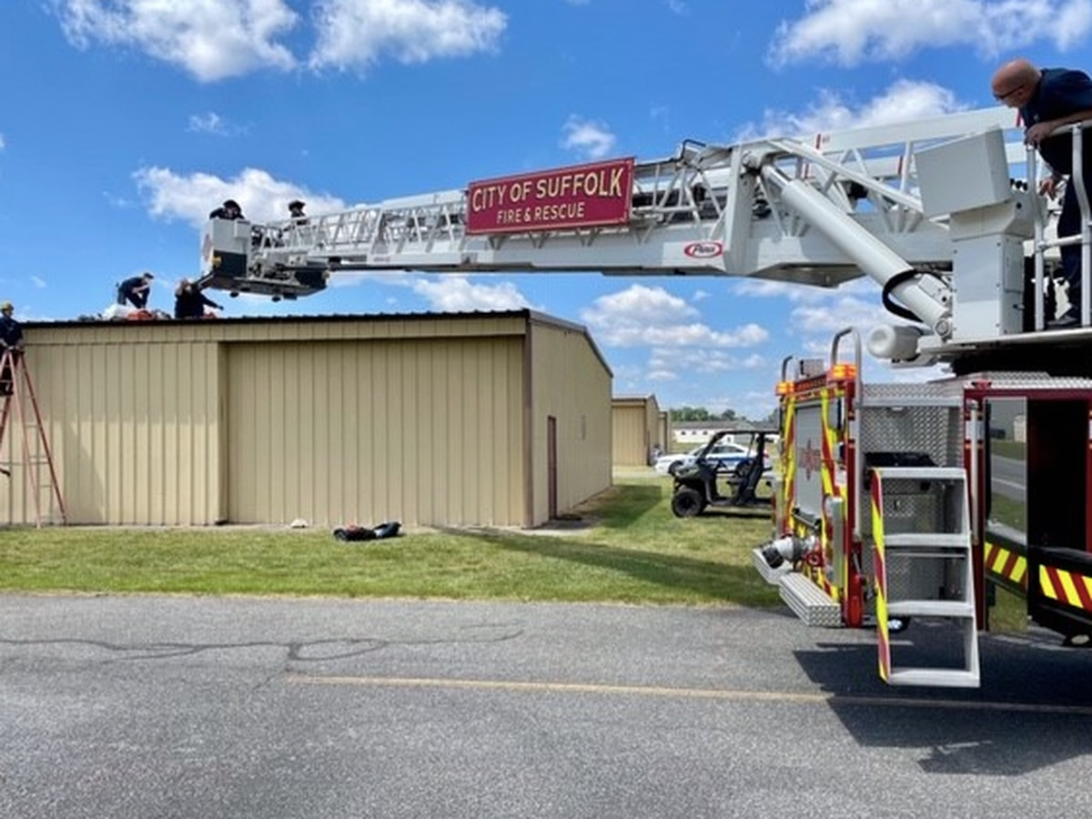 Va. skydiver hospitalized after landing on aircraft hangar