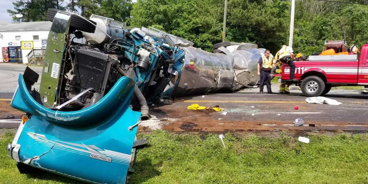 Driver flown to hospital after tractor-trailer overturns on Rt. 522