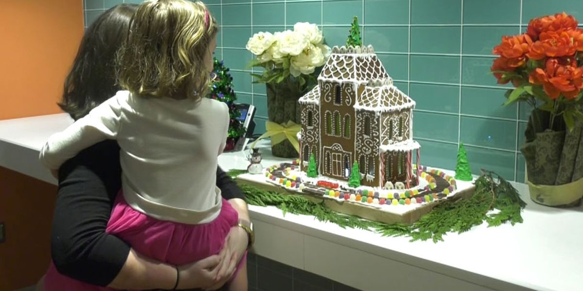 Cooks surprise UVA patients with holiday gingerbread house