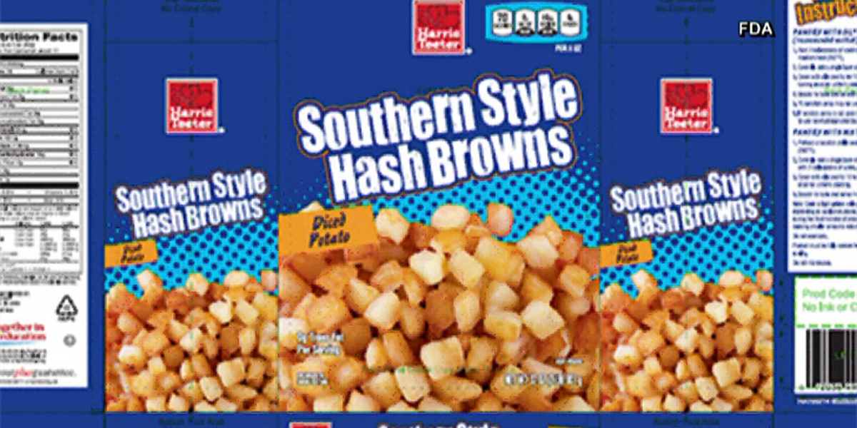 Harris Teeter Southern Style Hash Browns recalled due to golf ball materials