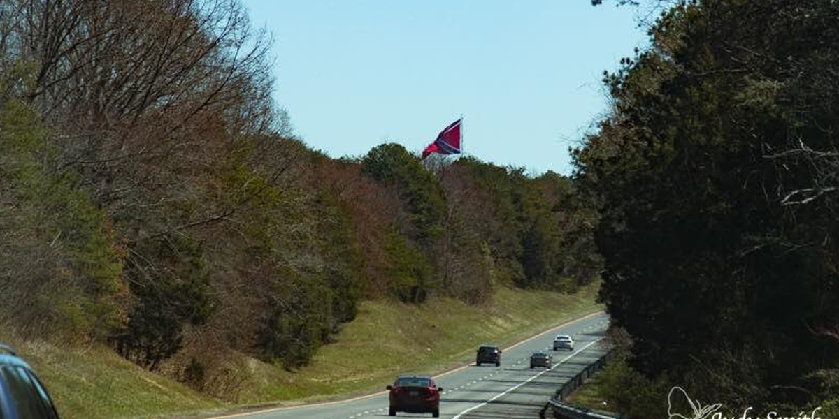 Group puts up Confederate Battle Flag on property along I-64