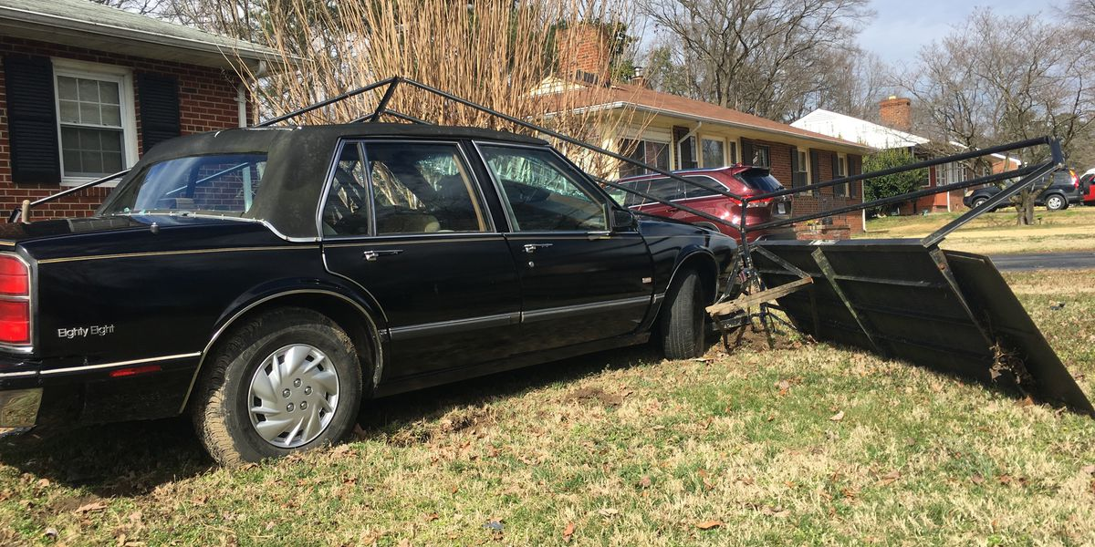 Car jumps curb, destroys wheelchair ramp