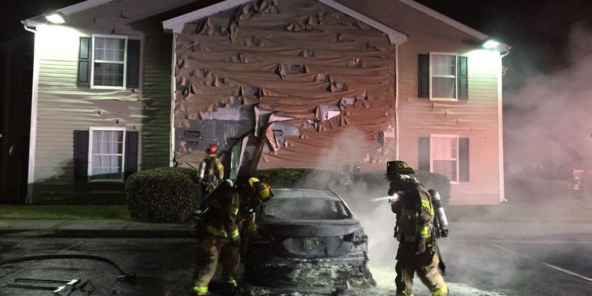 Car fire causes evacuation of apartment building