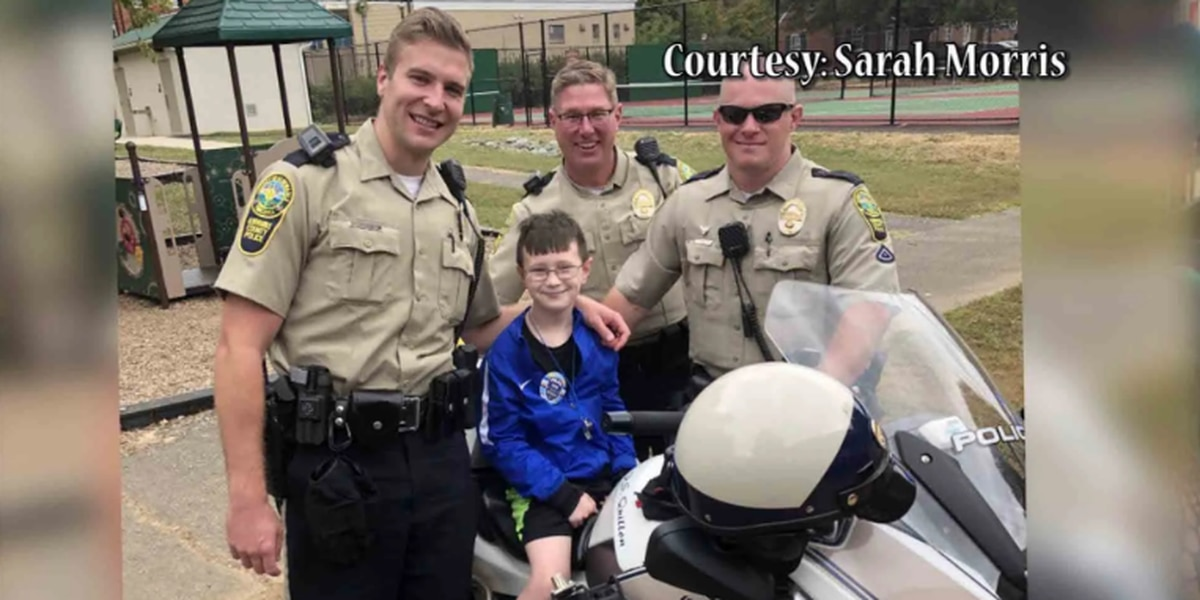 Va. police officers surprise 9-year-old boy at birthday party