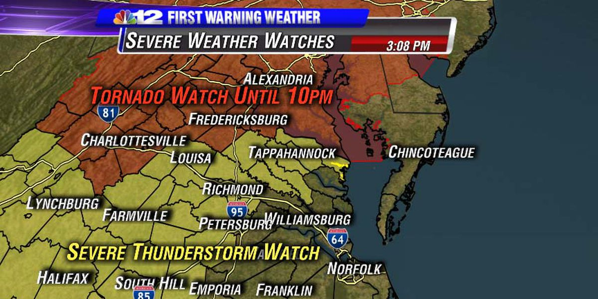 Severe thunderstorm watch issued for much of Central VA
