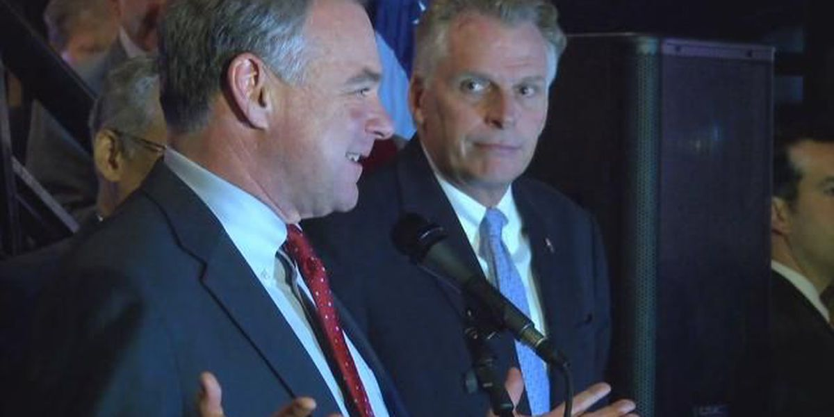 Kaine, McAuliffe and Warner at Clinton watch party in VA