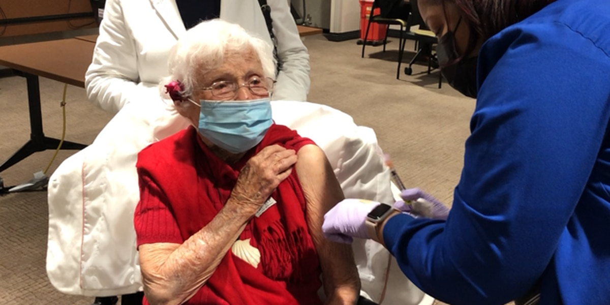 Nearly 105-year-old Baton Rouge woman gets second dose of COVID-19 vaccine
