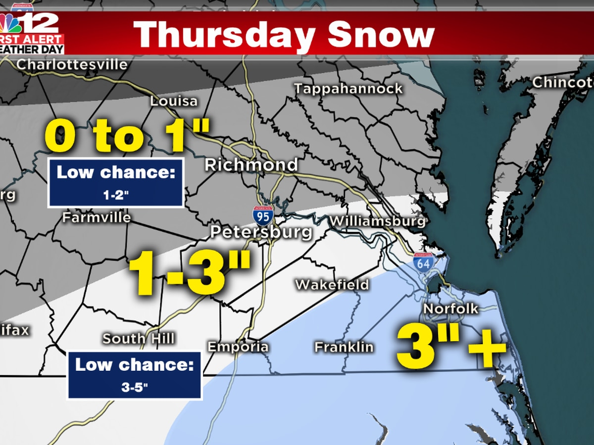 First Alert: Snow Targets Southern VA Thursday afternoon/evening