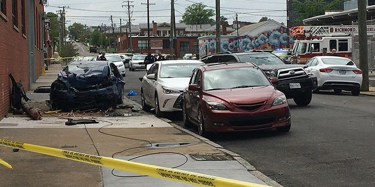Driver trapped after slamming into parked cars in Richmond