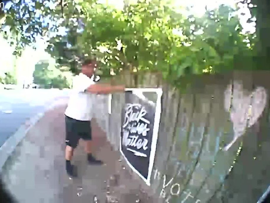 Video: Henrico man charged with vandalism after tearing down BLM sign