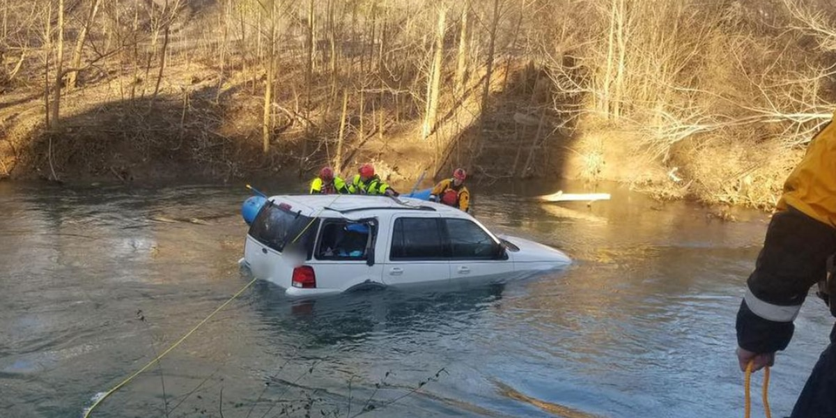 One person rescued from partially-submerged vehicle in Virginia river