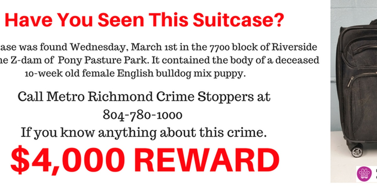 Reward increases for abused dog found dead in suitcase at Pony Pasture