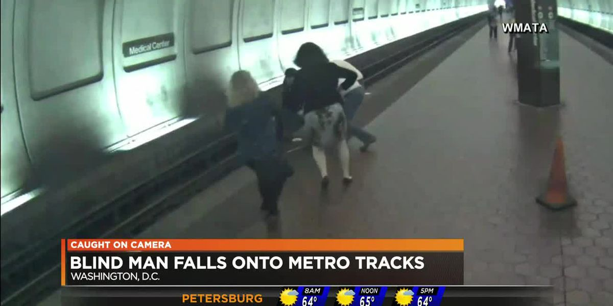 Blind man falls onto Metro tracks
