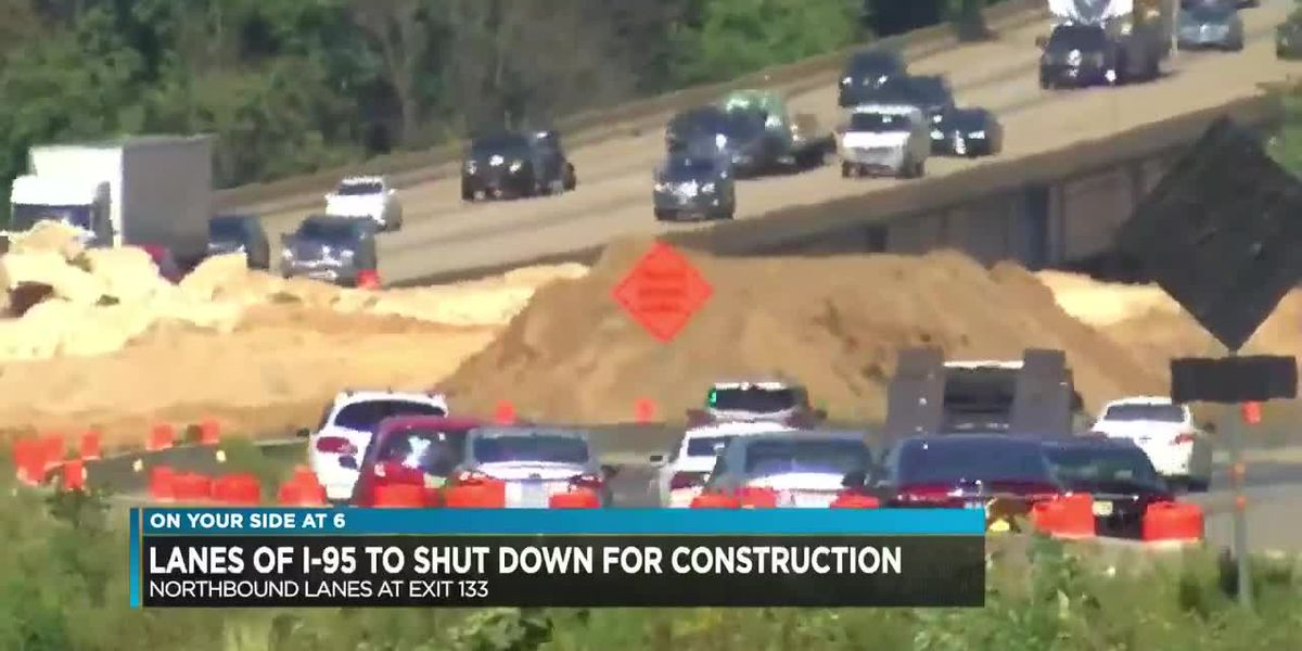 Construction to close lanes of I-95
