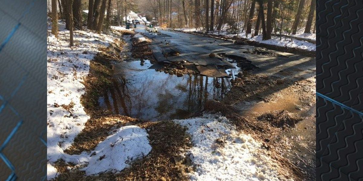 Bitter cold bursts water main in Henrico; driveways, yards badly damaged