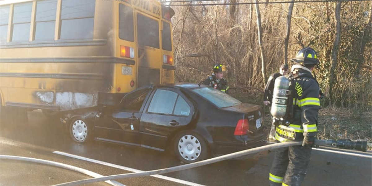 Vehicle rear ends school bus, catches fire in Petersburg