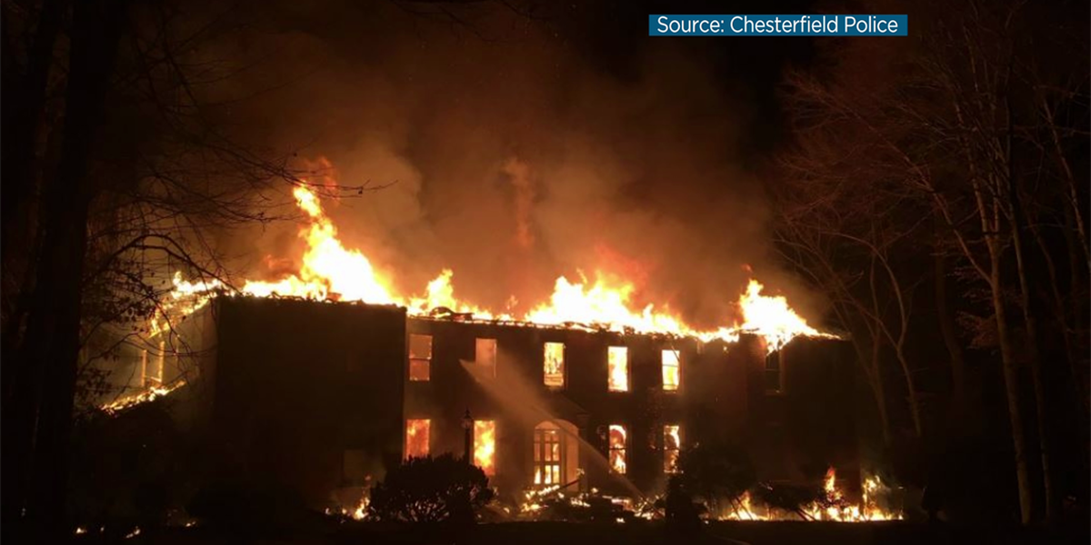 Chesterfield crews battle massive house fire