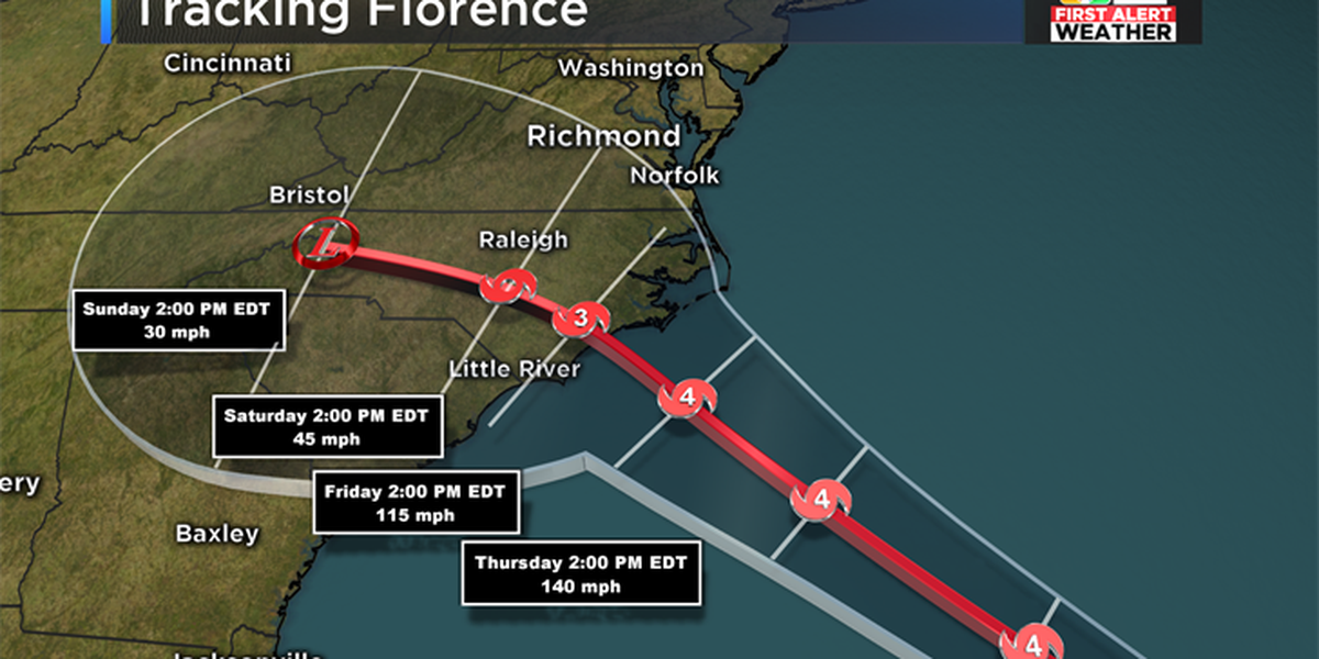 Florence barreling closer to coast of Carolinas