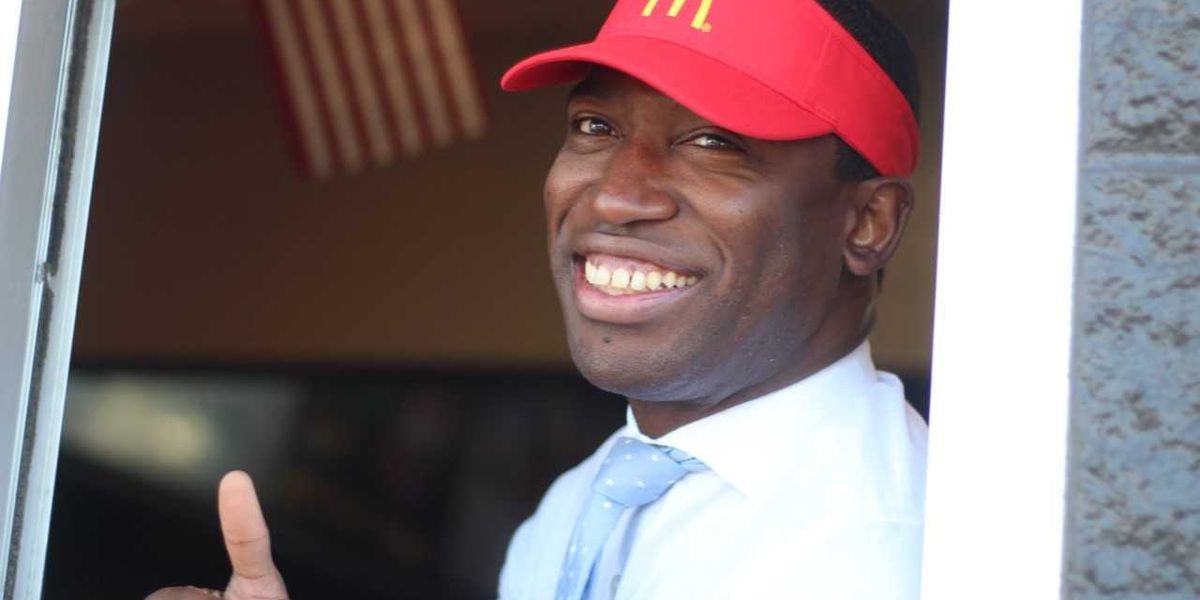 Mayor Stoney jumps behind drive-thru to promote McDonald's hiring event