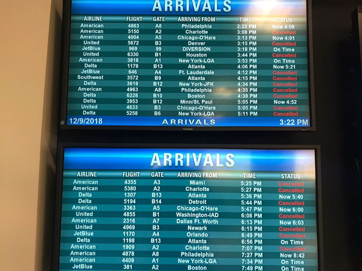 Over 100 flights canceled at Richmond International Airport; Greyhound and Amtrak delayed