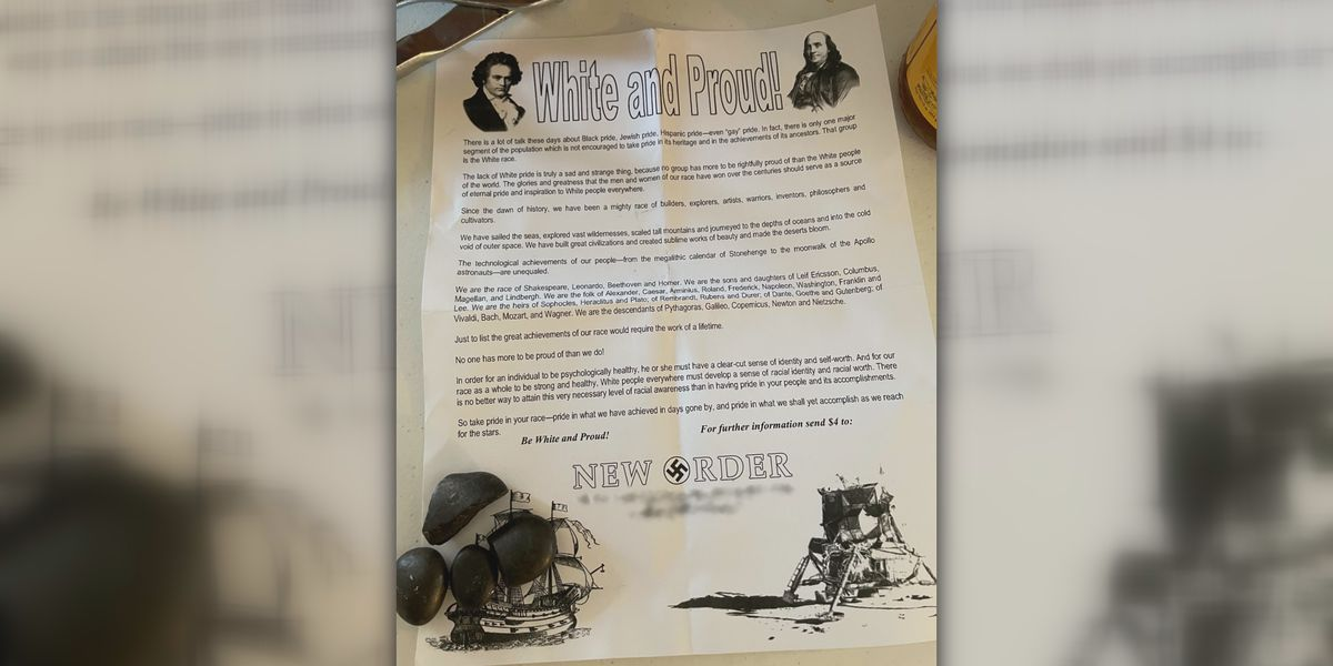 White supremacist fliers left at multiple homes in Scottsville neighborhood