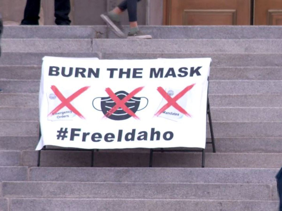 Protesters burn masks at Idaho Capitol rally against COVID-19 rules