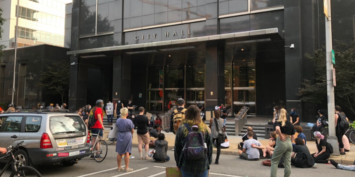 Protesters gather outside Richmond's City Hall