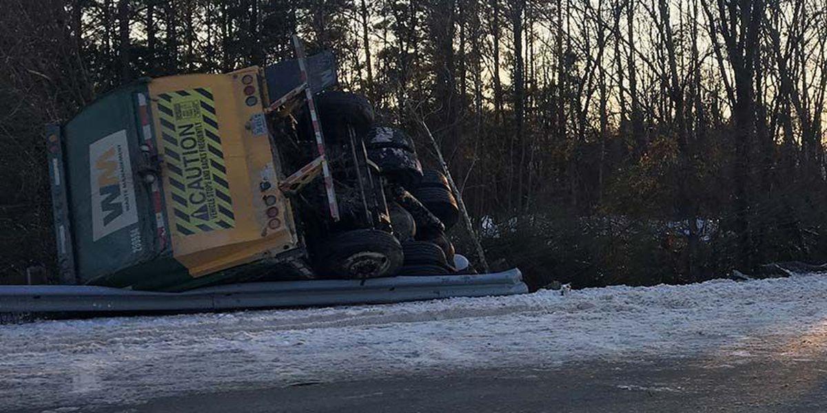 Trash truck overturns in Chesterfield