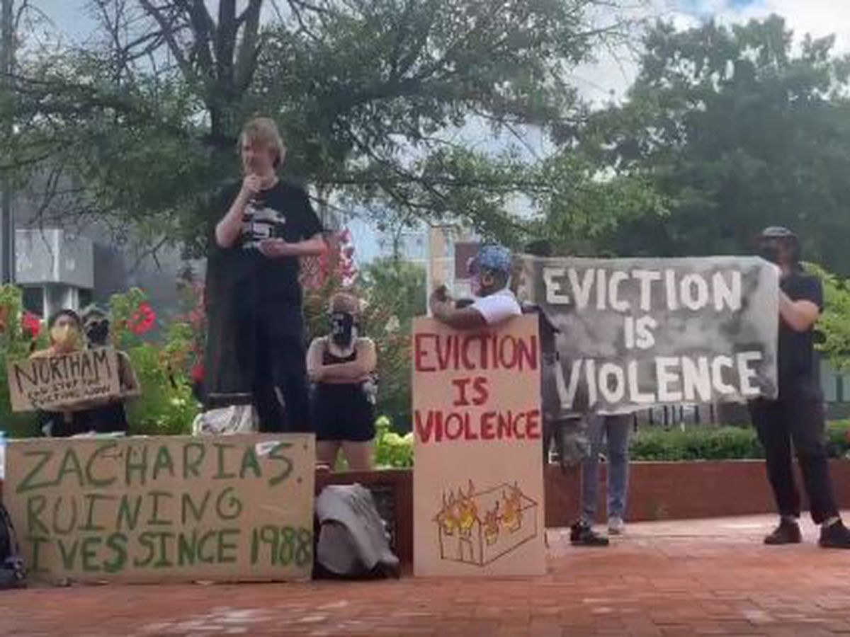 Protesters gather at John Marshall Courthouse in response to eviction proceedings
