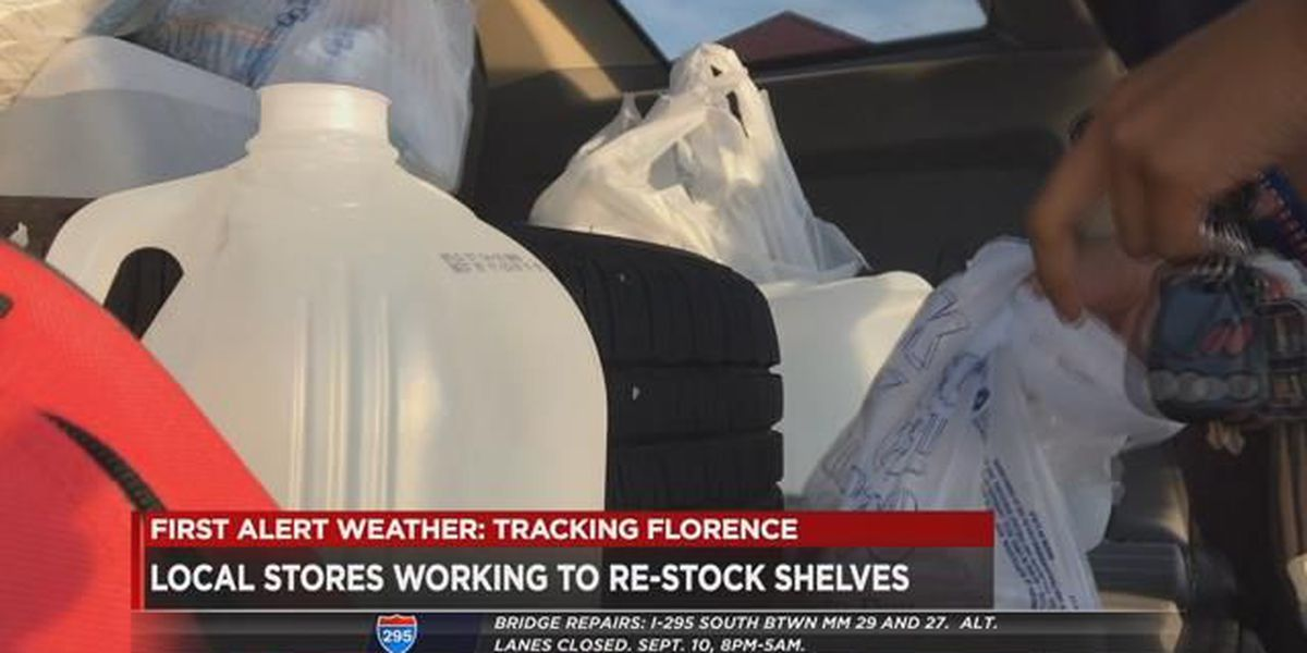 Area stores work to re-stock shelves after people race for items ahead of Florence