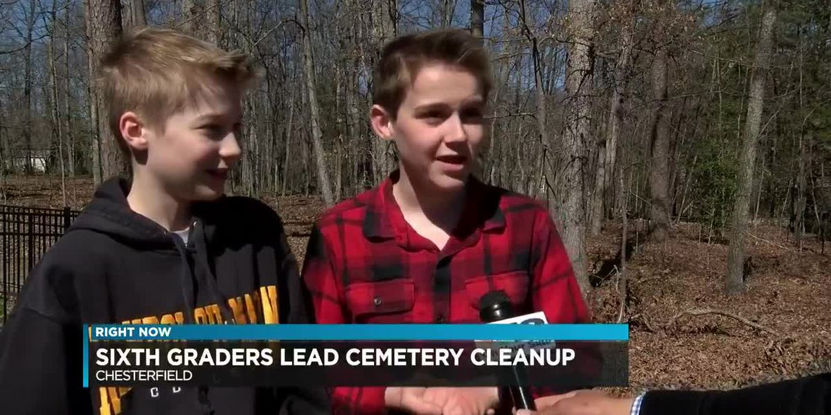 Sixth graders lead cemetery cleanup