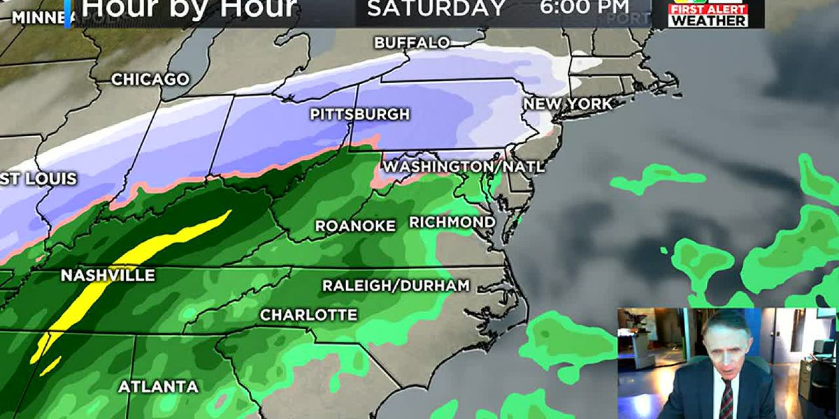 First Alert Weather Day: Heavy rain Sunday, changing to snow
