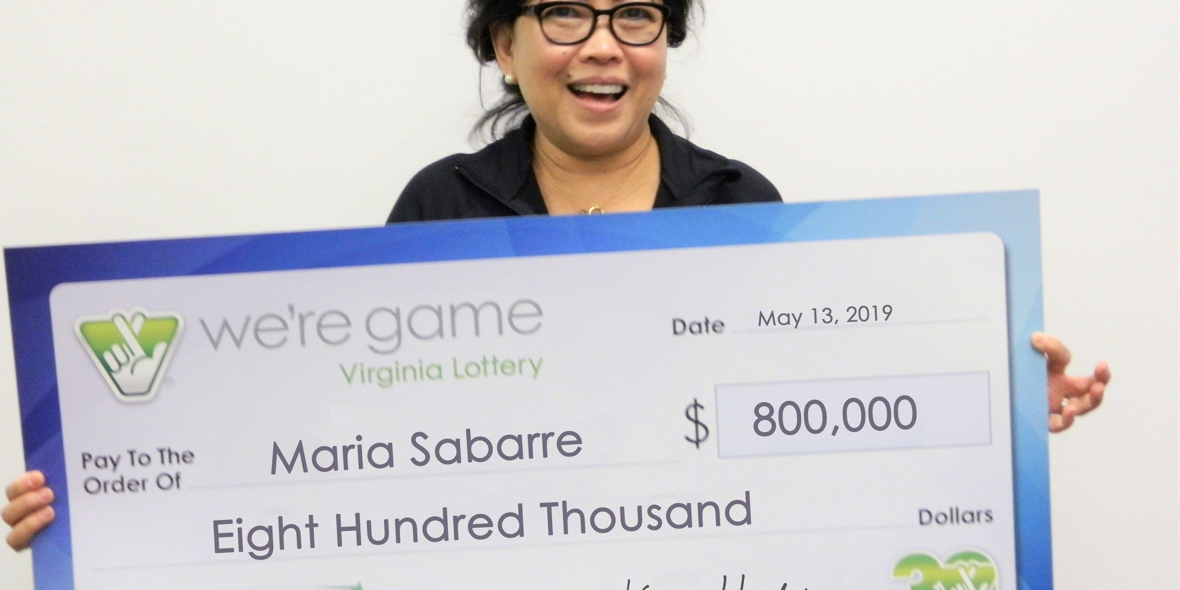 Woman wins $800K in Virginia Lottery on Mother's Day
