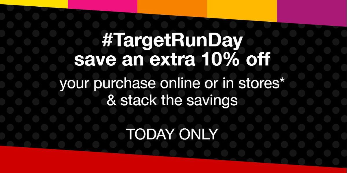 Target offering 10 percent discount on most items this Sunday only