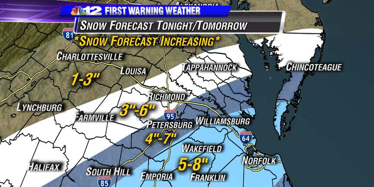 Winter storm warning issued for Metro Richmond