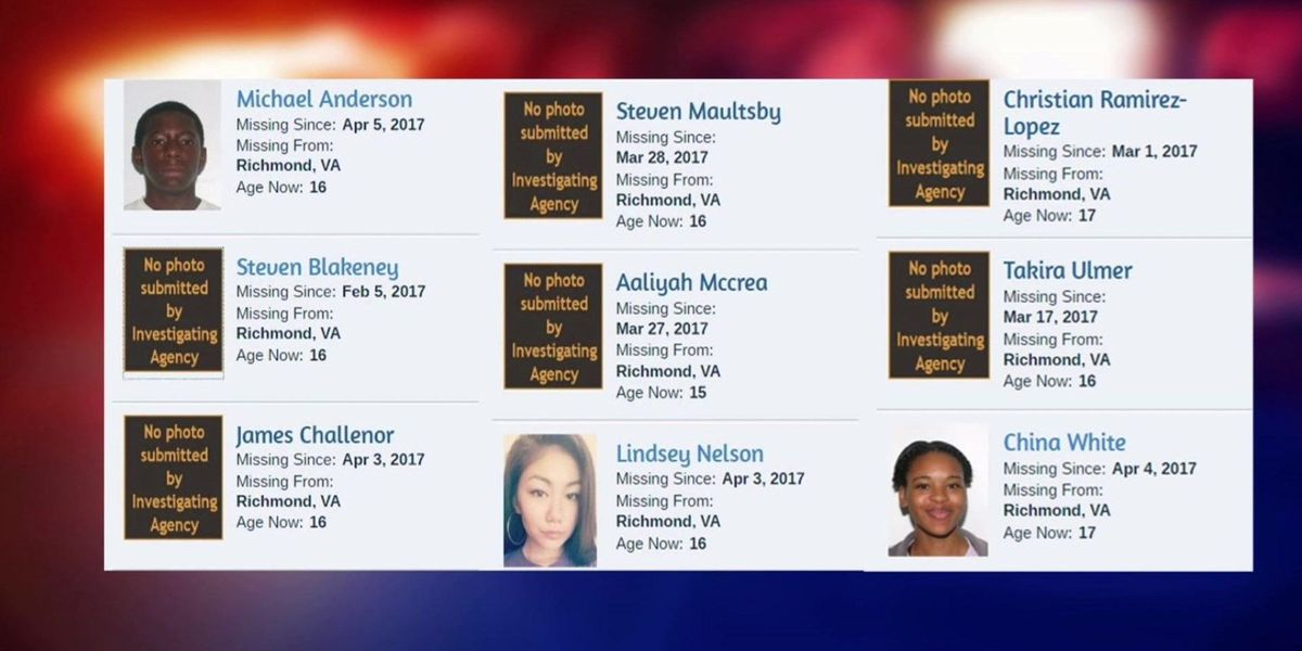 34 children reported missing in Central VA