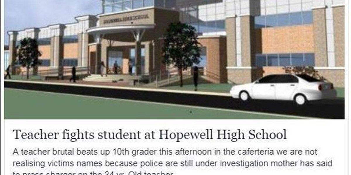 Post about Hopewell school fight is a hoax