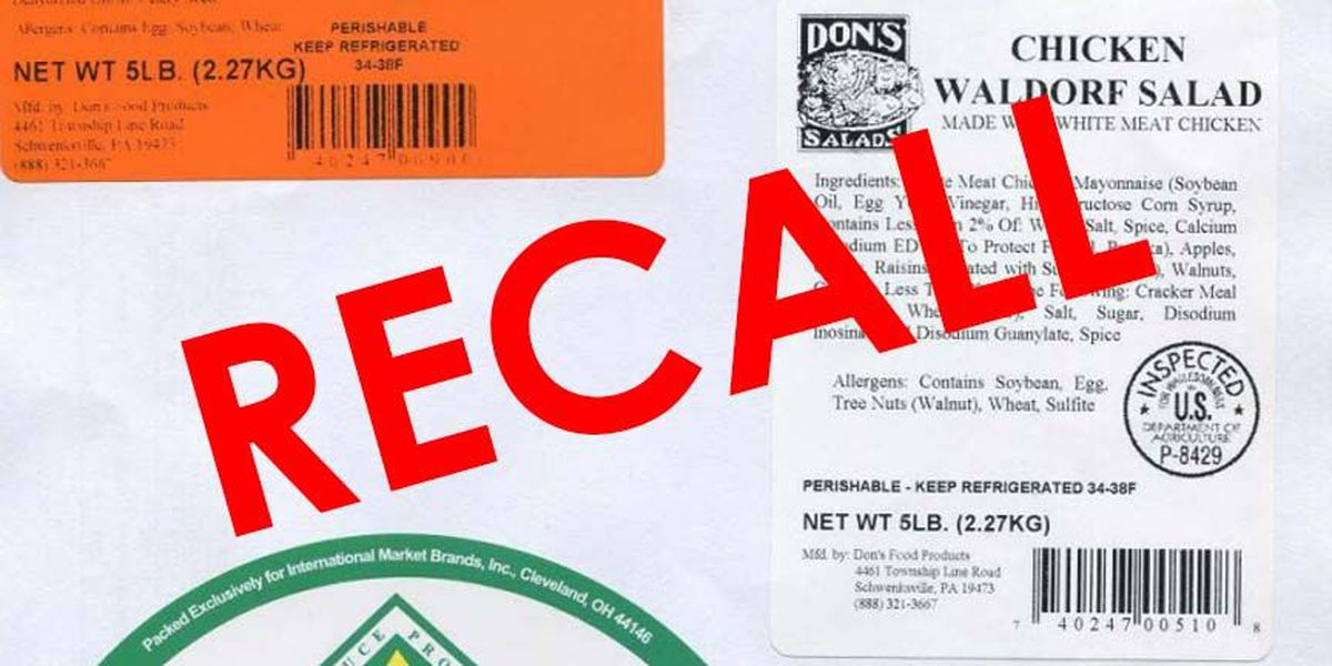 18,000 pounds of chicken salad being recalled