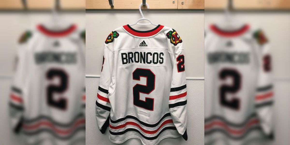 Blackhawks, Jets players wear jerseys with 'Broncos' on the back