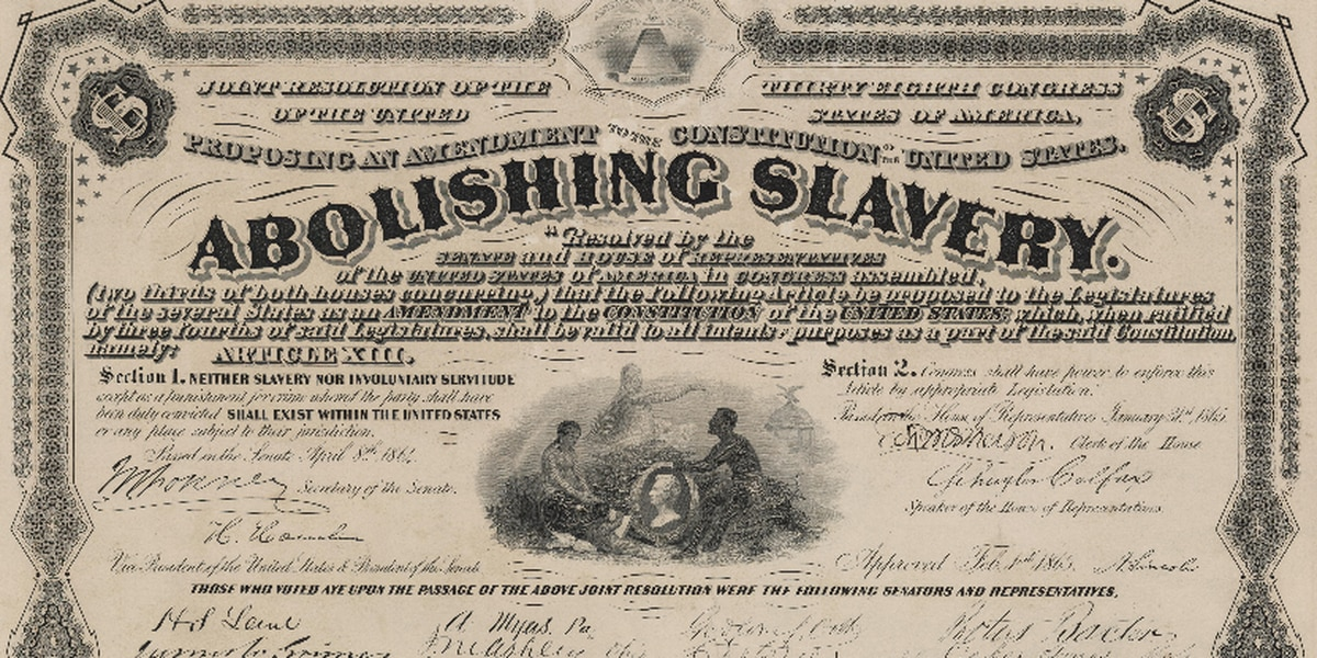 Image result for The United States Congress passes the Thirteenth Amendment to the United States Constitution, abolishing slavery and submits it to the states for ratification.