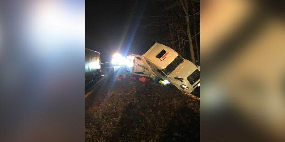 Tractor-trailer carrying thousands of pounds of meat overturns on I-64