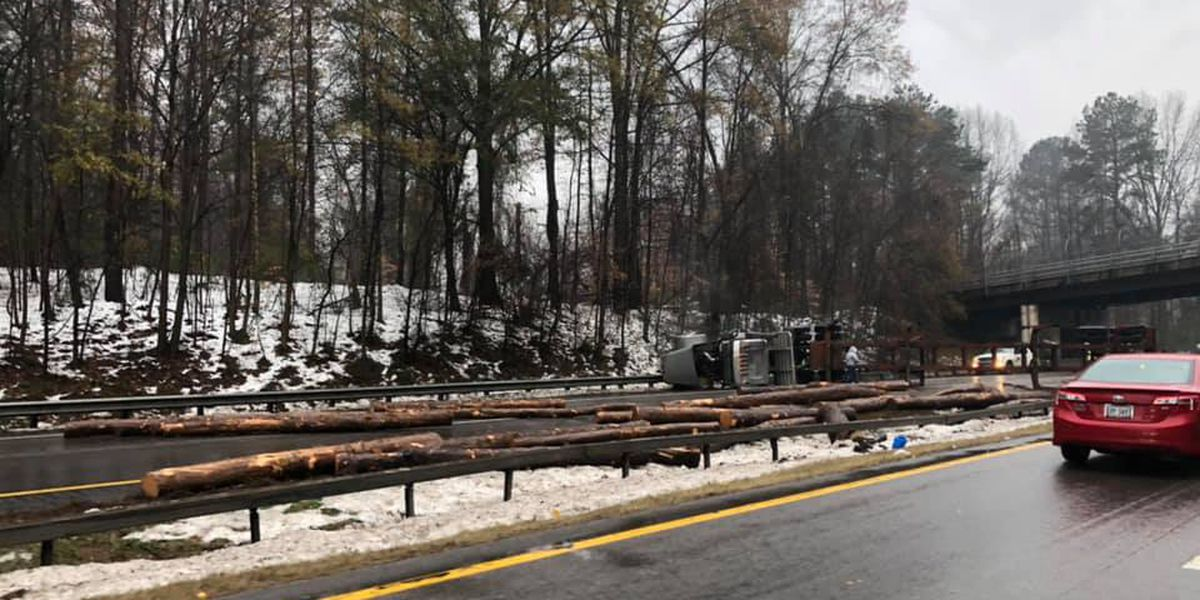 Logging truck crash closes northbound I-85 lanes