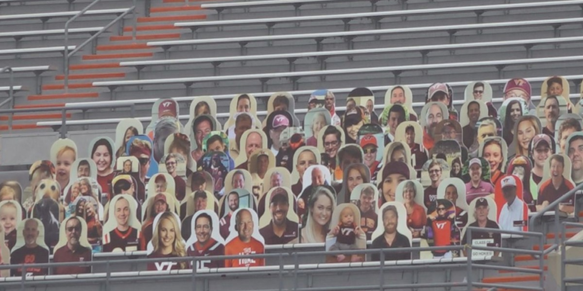 Cutouts of fans now in Lane Stadium at Virginia Tech